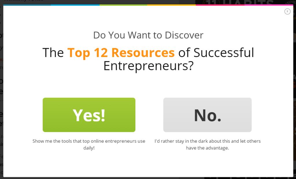 Entrepreneur On Fire 2-Step Exit Popup