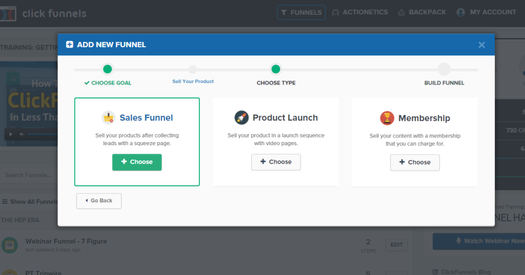 Add New funnel sales funnel button in ClickFunnels