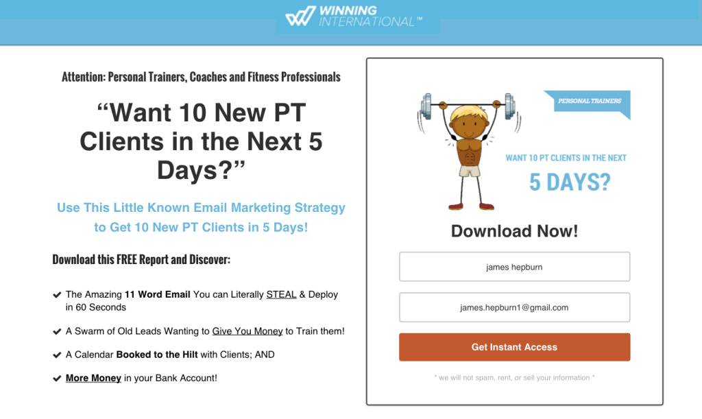 Winning International PT clients opt in page Clickfunnels