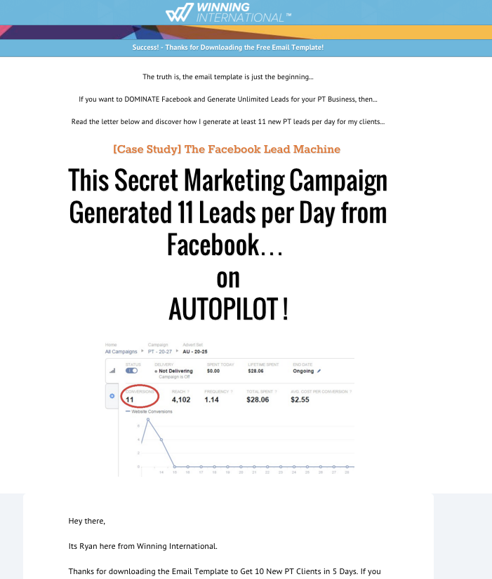 Winning International clickfunnels email template