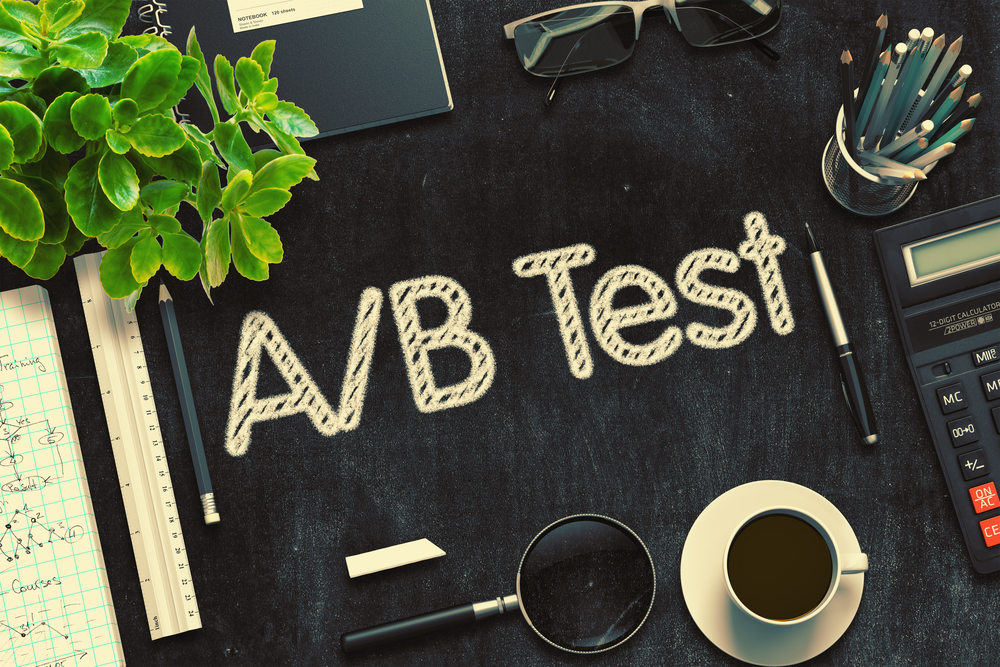 Black Chalkboard with AB Test. 3D Rendering.