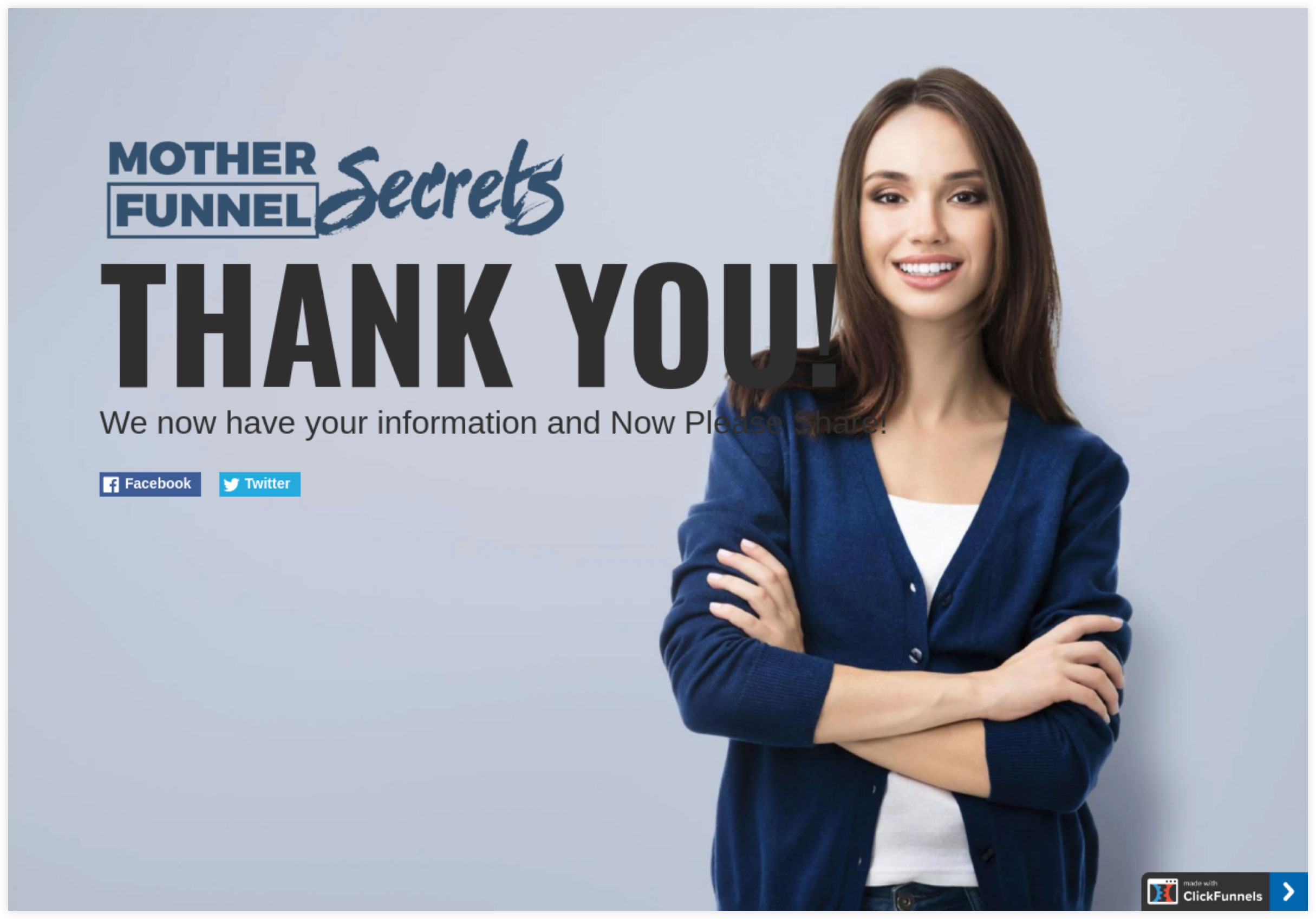 Mother Funnel Secrets squeeze page success message example.