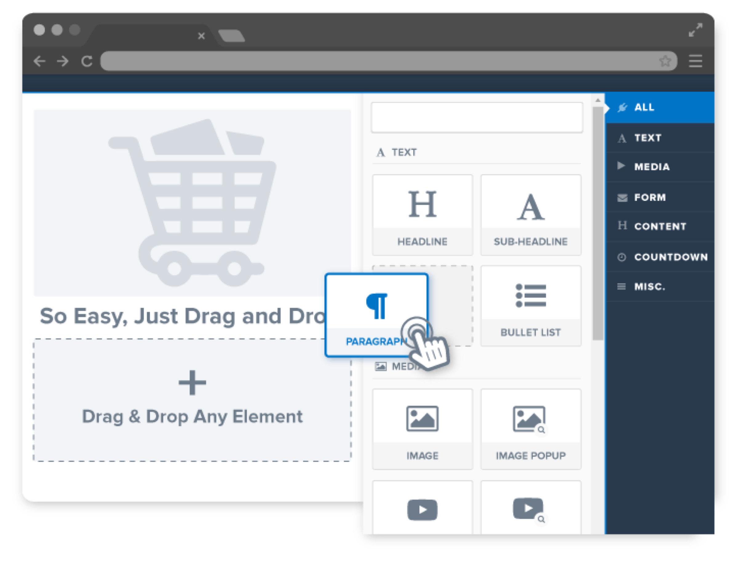 ClickFunnels' Drag-And-Drop Visual Editor