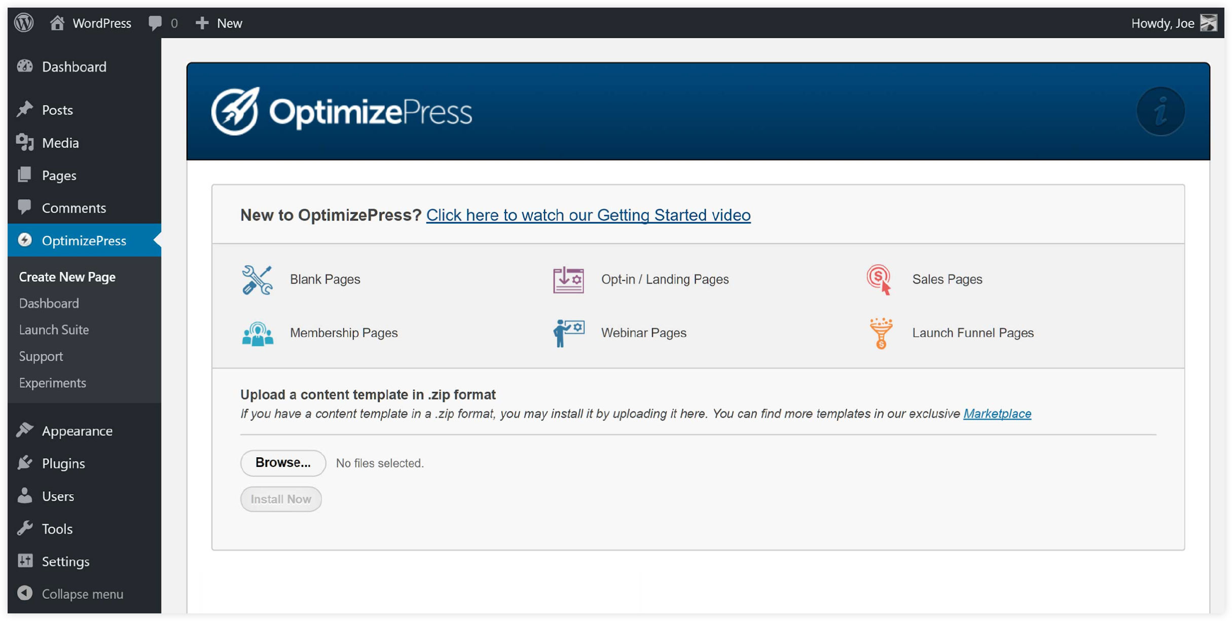 OptimizePress User Interface