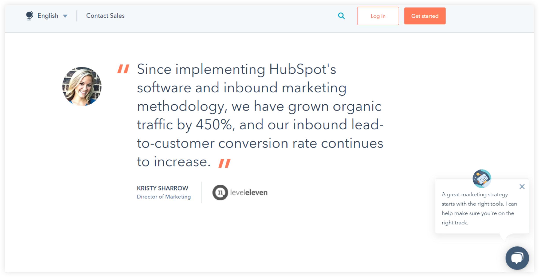HubSpot Client Testimonial Example