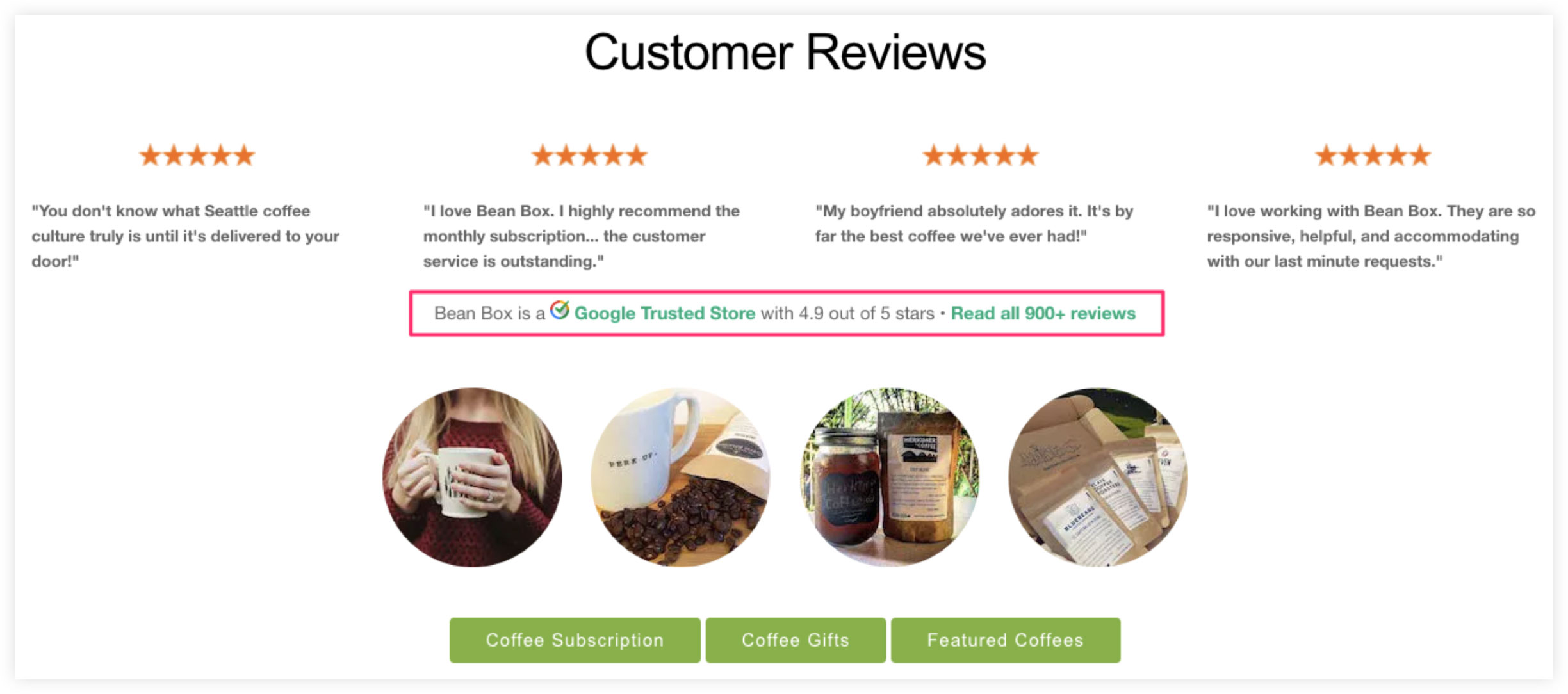 Bean Box Customer Reviews Examples
