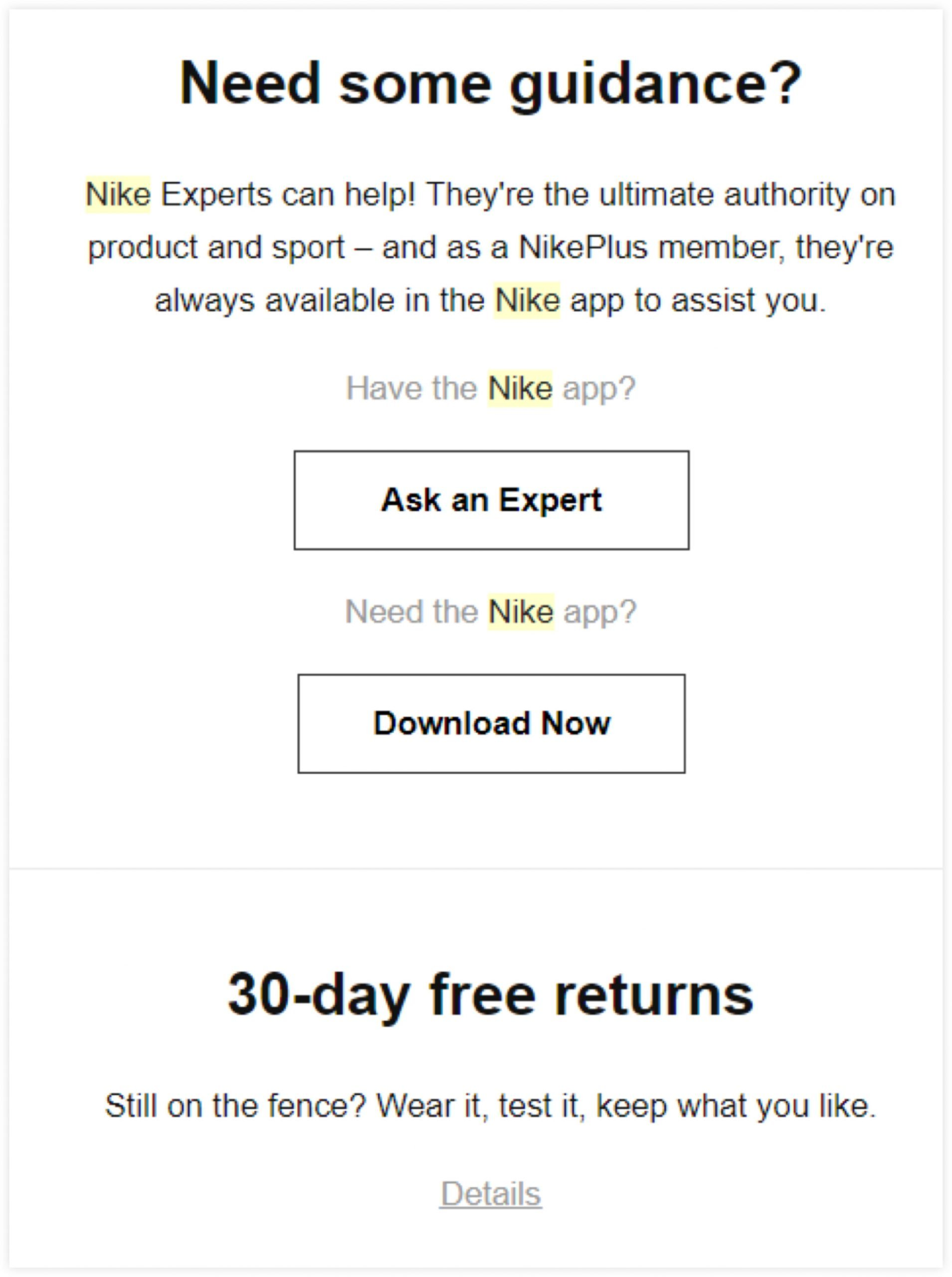 Nike Email Campaign Messaging Example