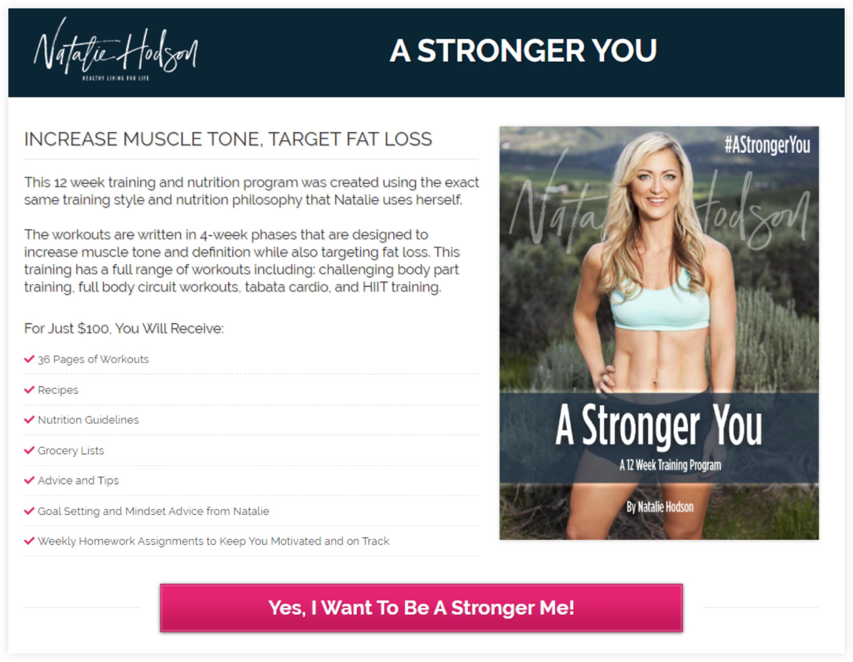 Natalie Hodson Landing Page Example