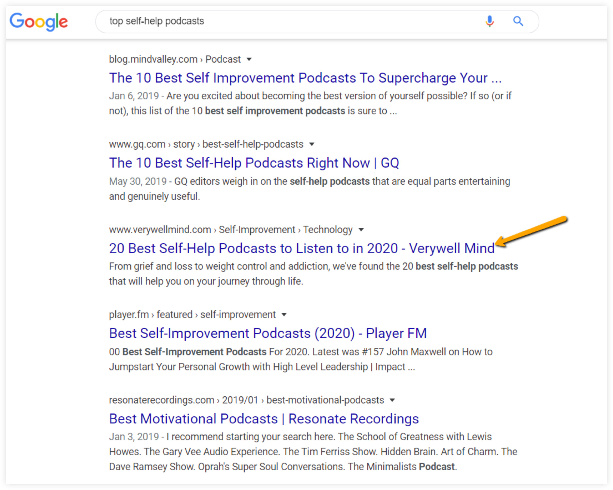 Google Search Results for Top Self-Help Podcasts