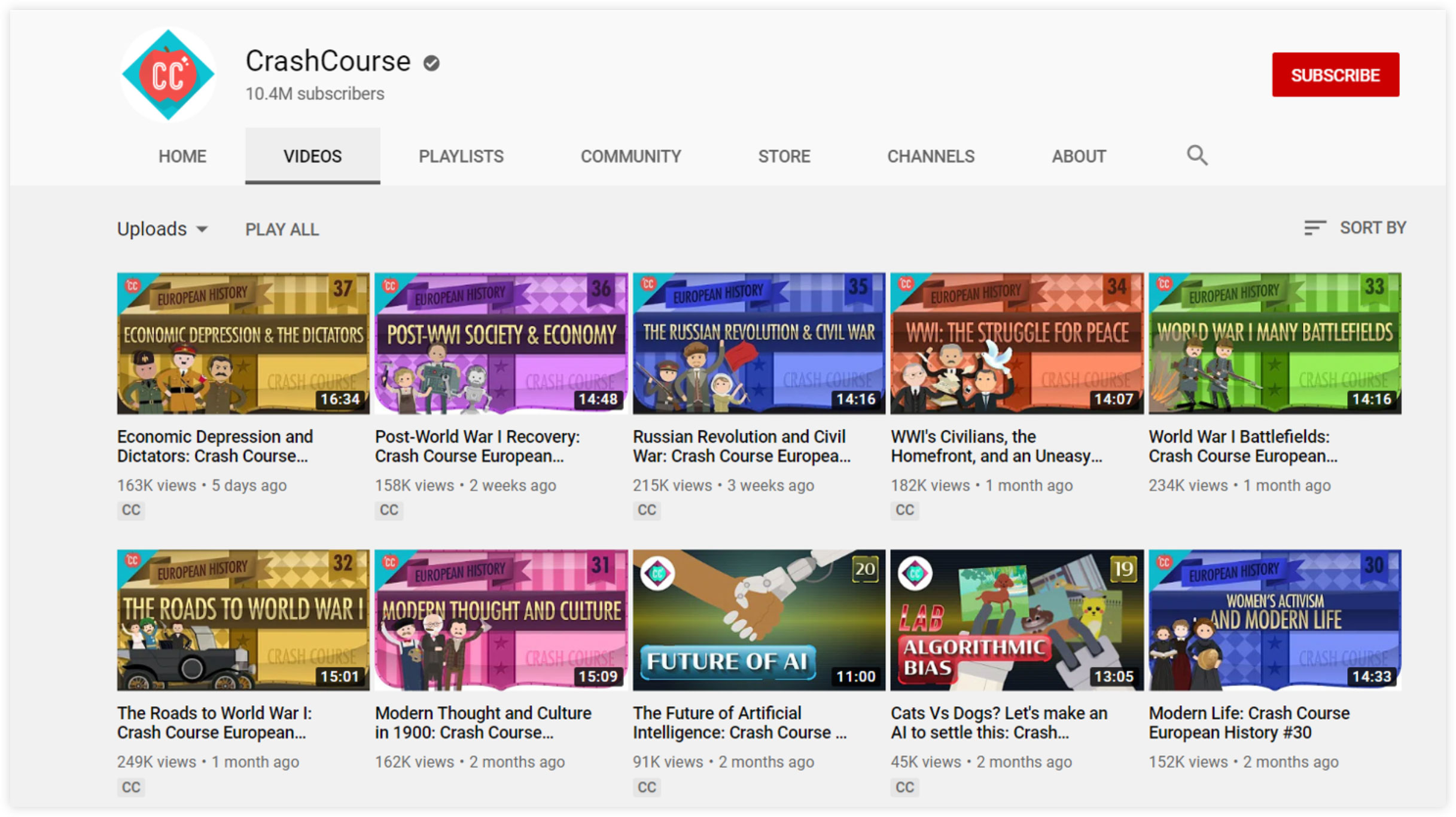CrashCourse YouTube Channel