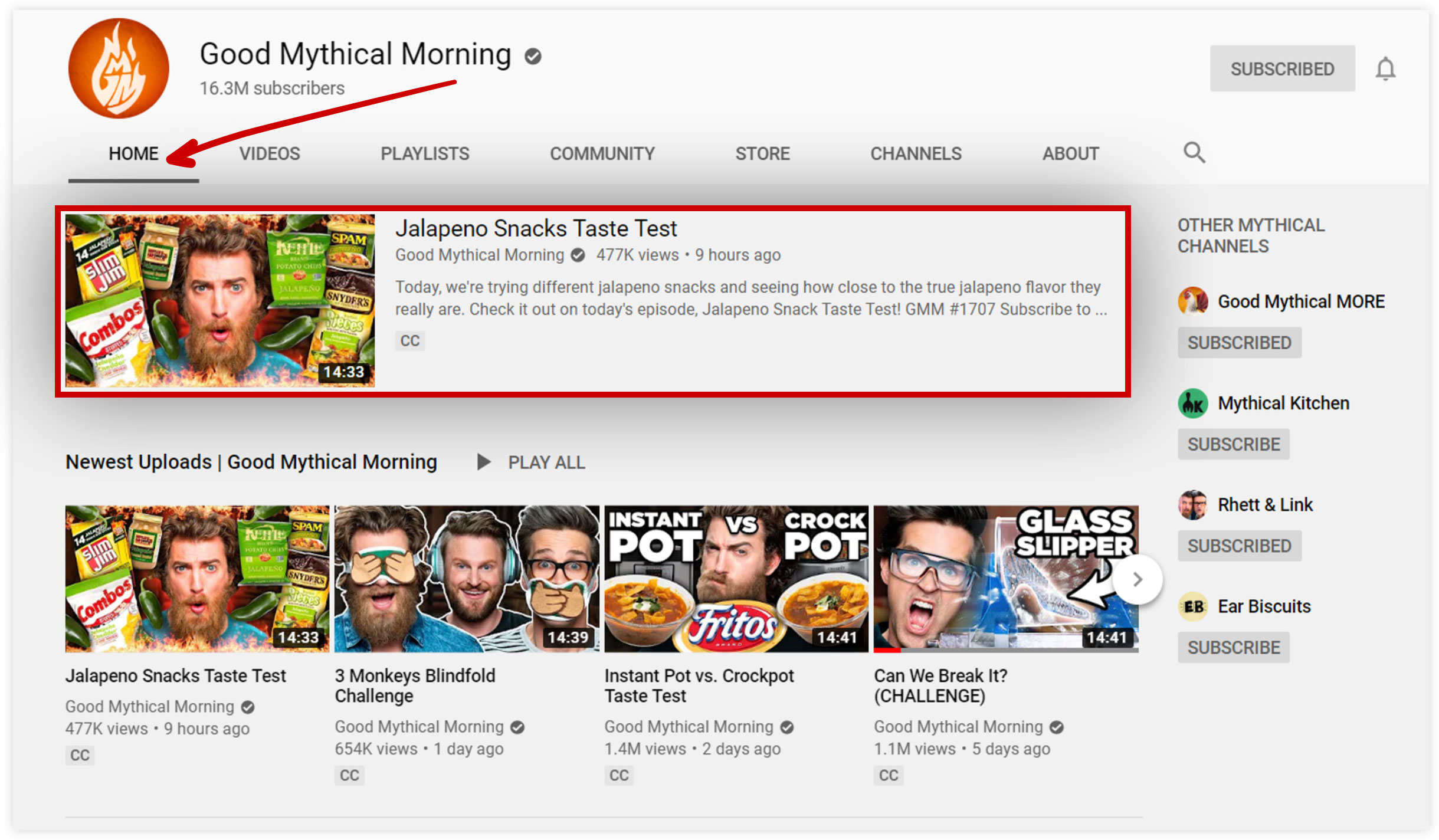 Good Mythical Morning YouTube Channel Screenshot