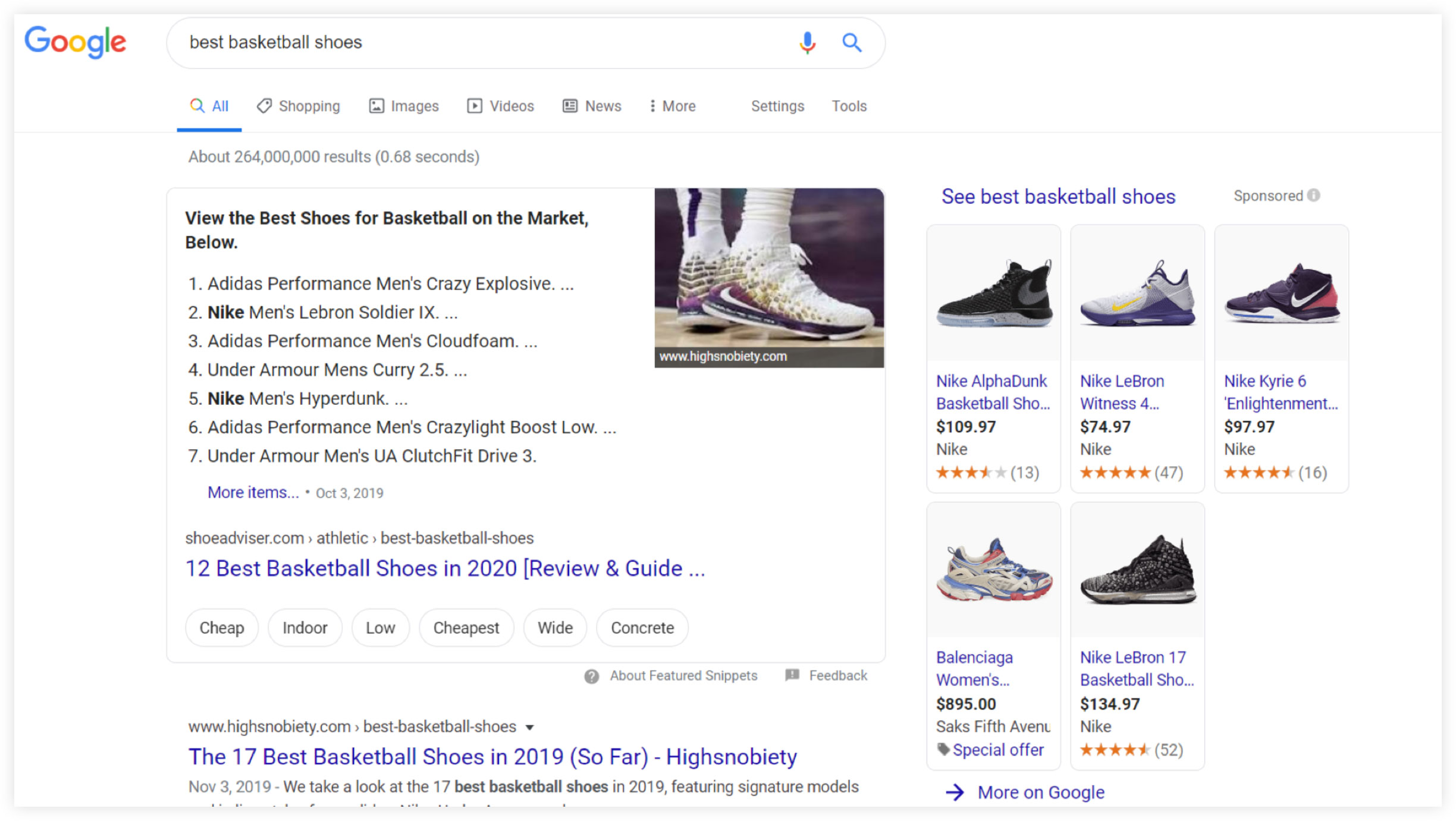 Google Search Results for Best Basketball Shoes