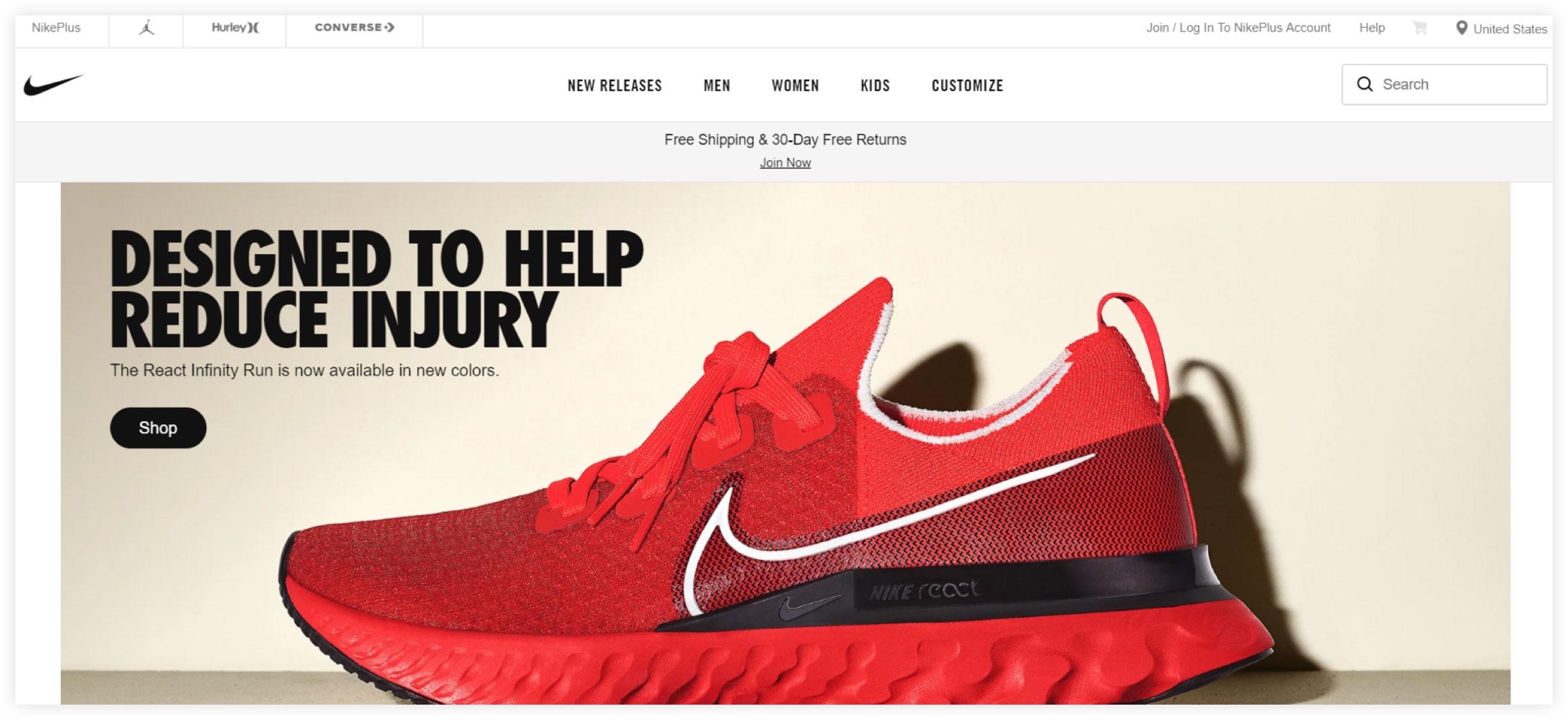 Nike Ecommerce Website Example