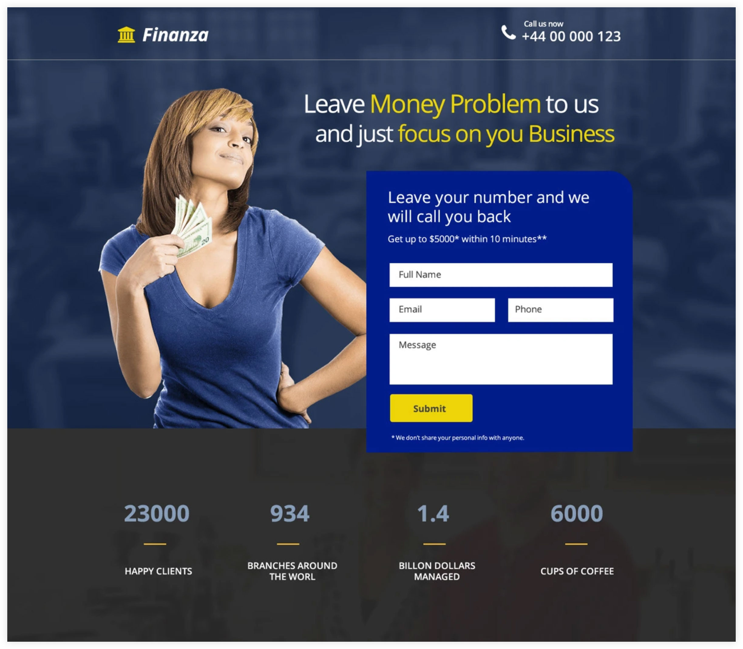 Finanza Landing Page Example