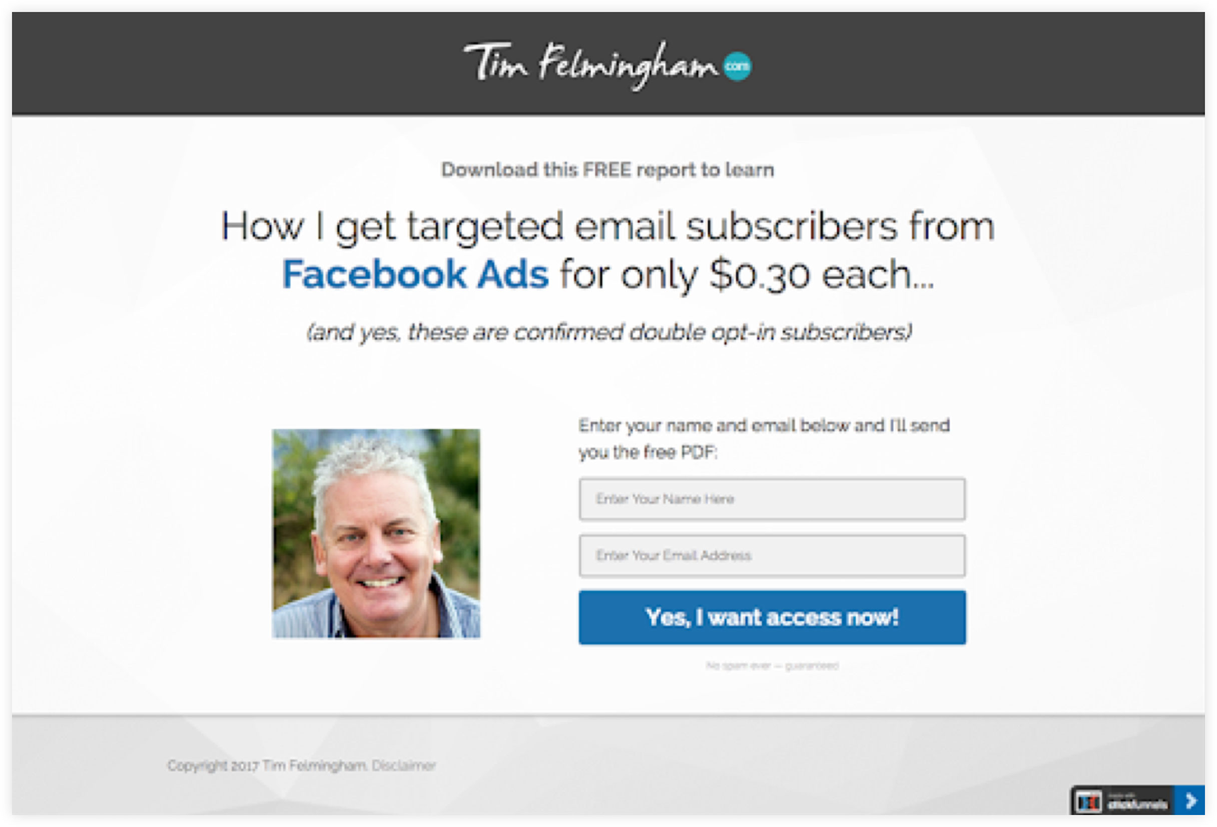 Tim Felmingham ClickFunnels Squeeze Page Example