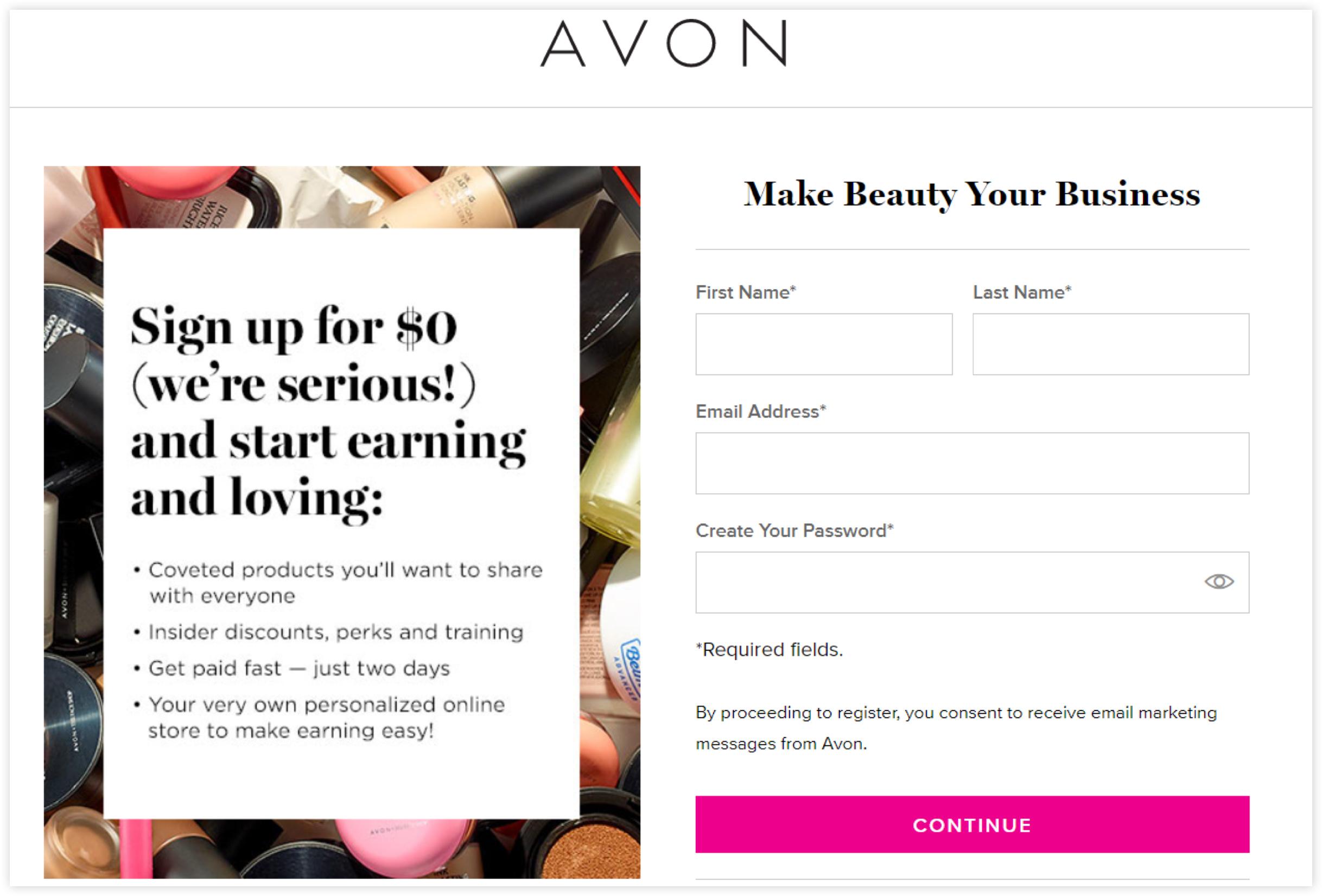Avon Network Marketing Opt-in form