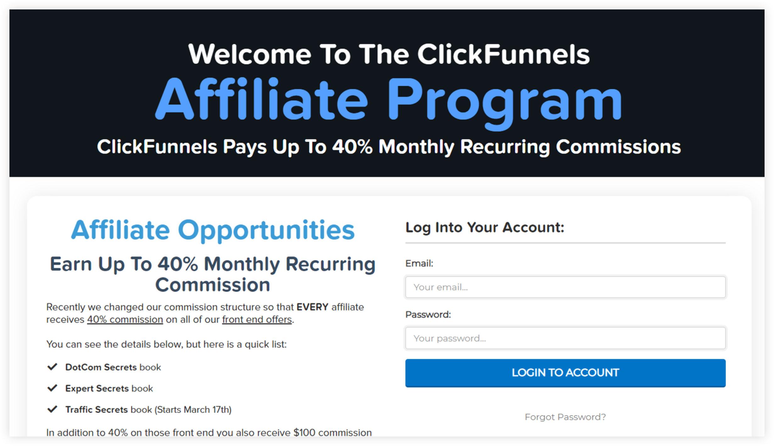 ClickFunnels Affiliate Progam Funnel Page