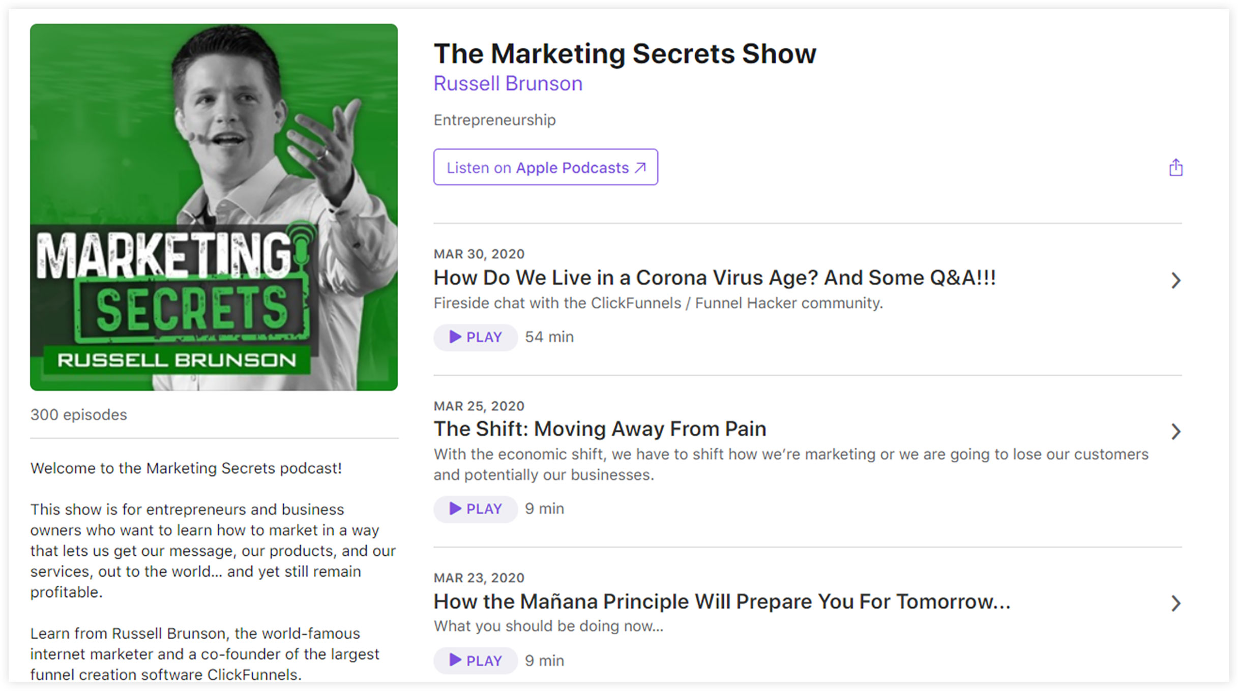 Marketing Secrets Podcast by Russel Brunson