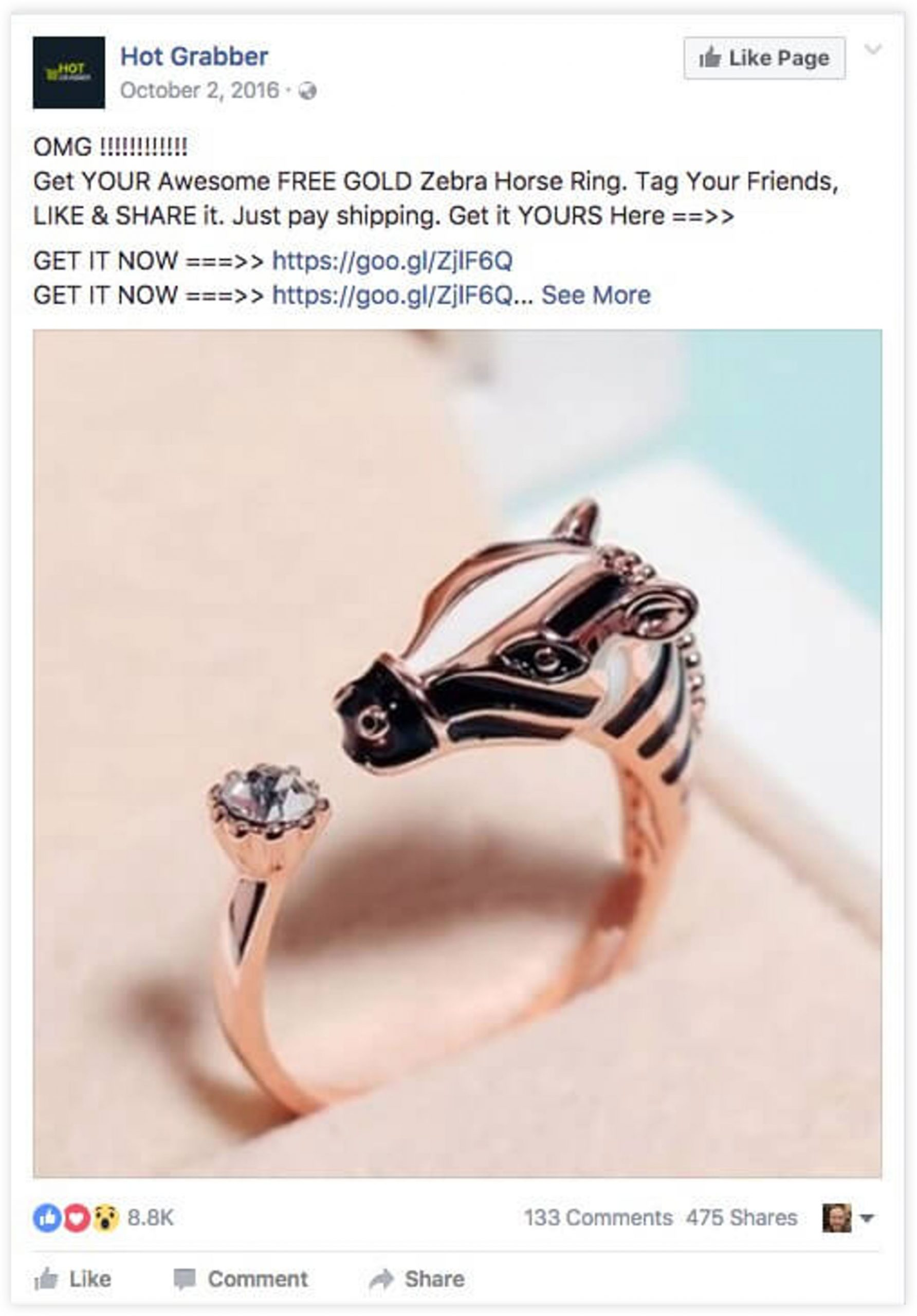 Facebook Post Example by Hot Grabber