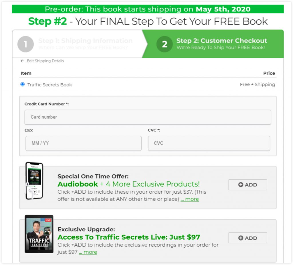 ClickFunnels Book Funnel Template Sales Page Checkout Funnel