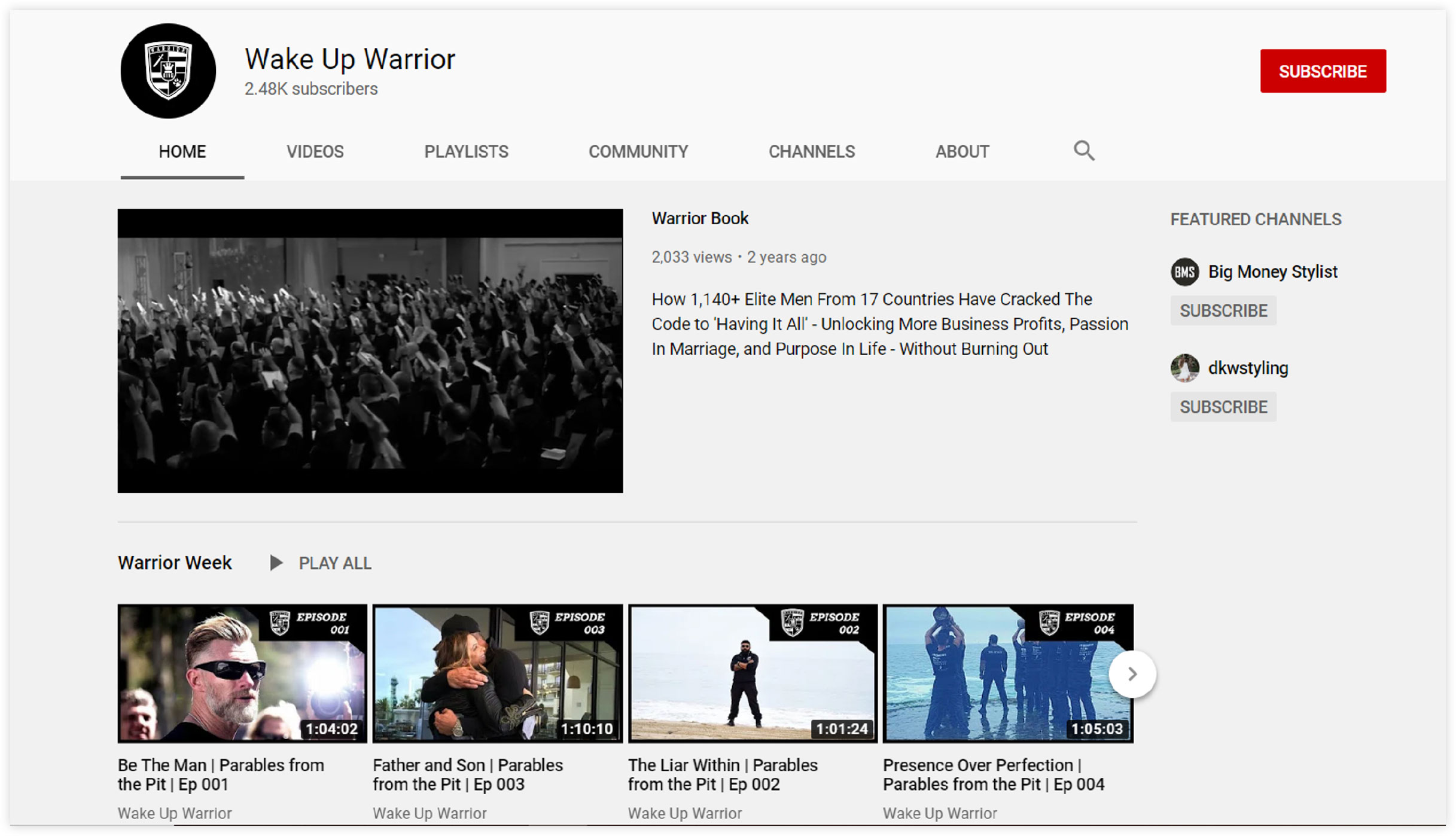 wake up warrior youtube channel