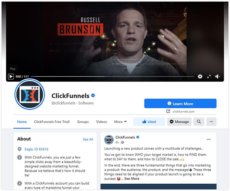 clickfunnels facebook page
