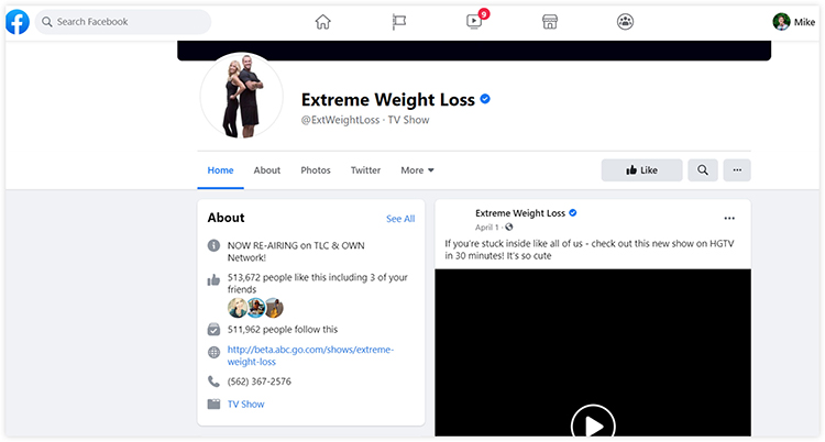 extreme weight loss facebook page