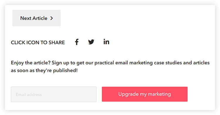email opt in box on footer and header