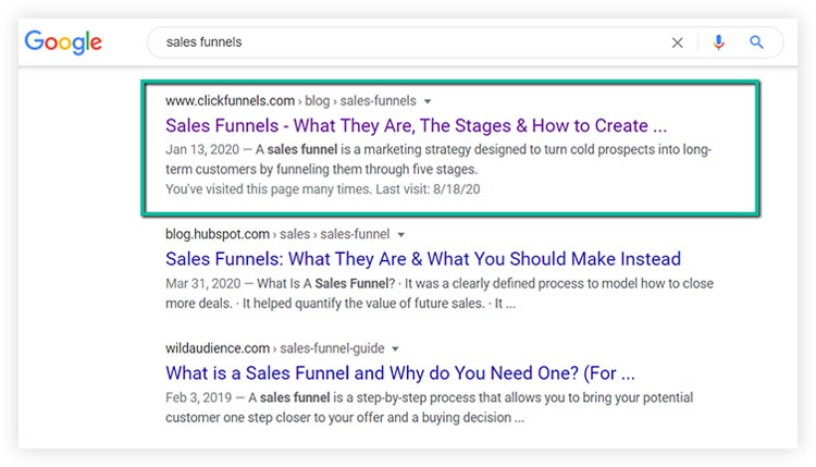 search results for sales funnels on google