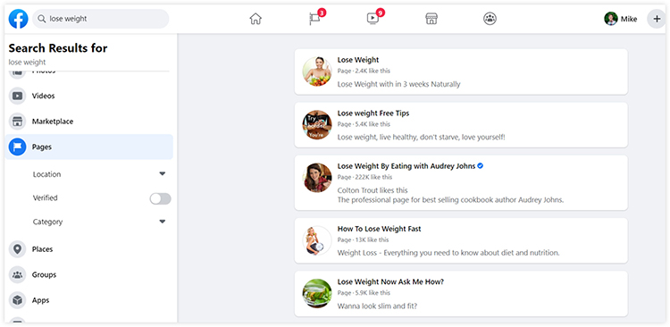 find profiles from facebook search