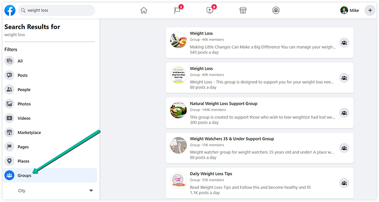 find groups from facebook search