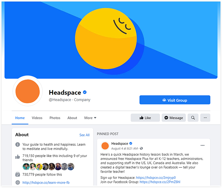 headspace facebook page