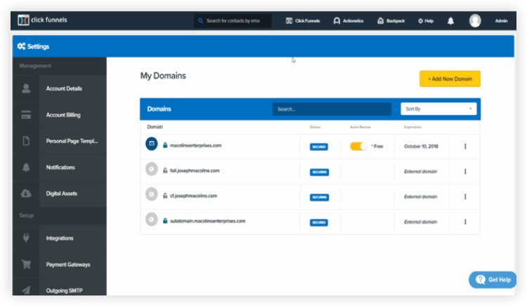 add custom domains from clickfunnels dashboard