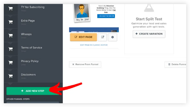 Click funnels dashboard for adding new funnels steps with a single click.