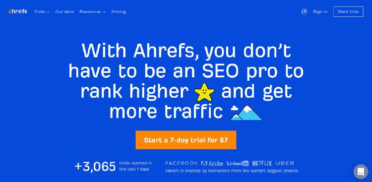 ahref homepage screenshot