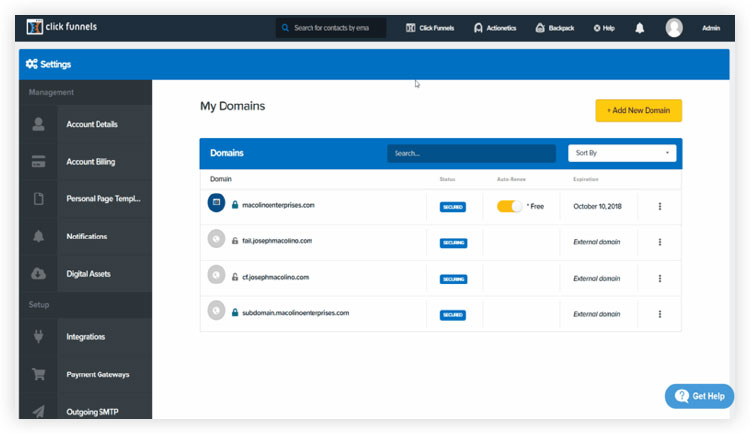 adding third party domain hosting in clickfunnels