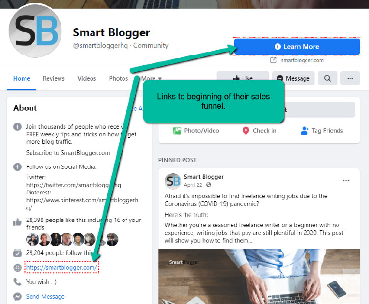 smart blogger facebook page screenshot