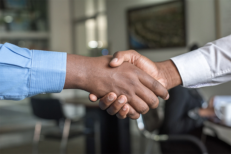 persons shaking hands on agreement