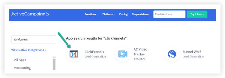 the active campaign dashboard showing integration with clickfunnels.