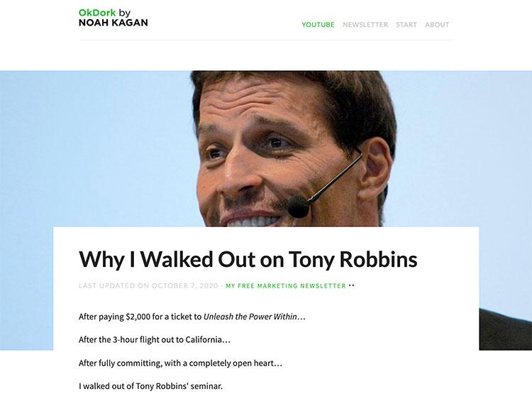 noah kagan's article landing page