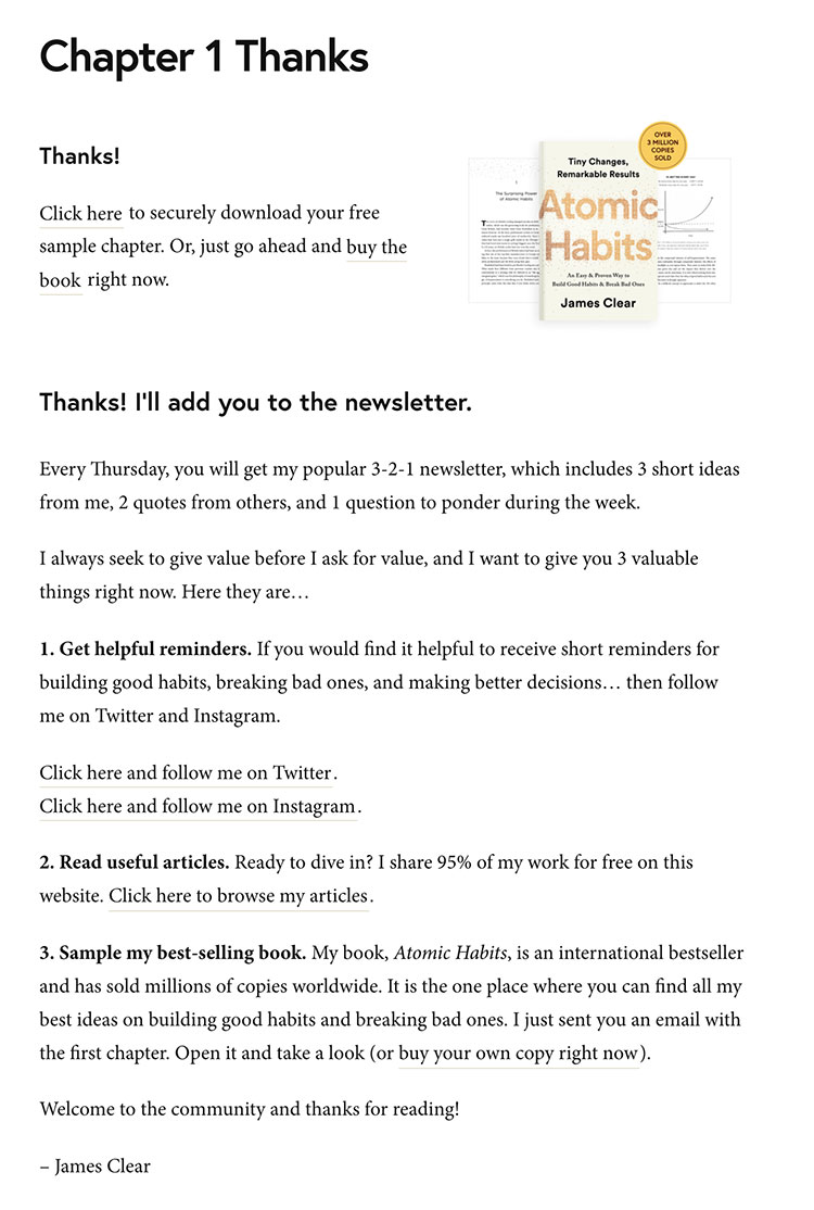 atomic habits thank you page