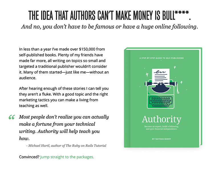 sales page of the book authority