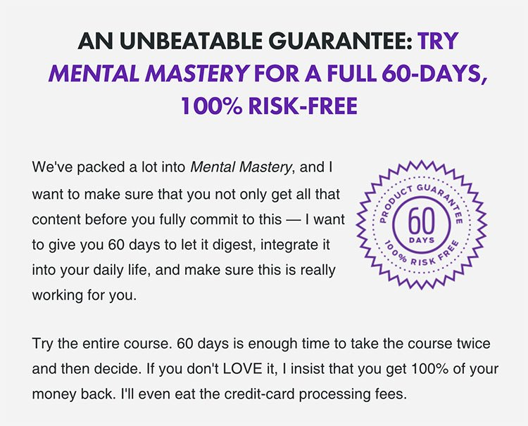 money back guarantee on mental mastery course
