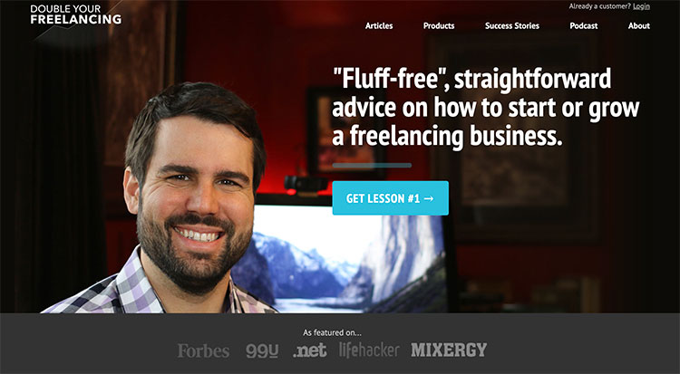 double your freelancing homepage with get lessons 1 button
