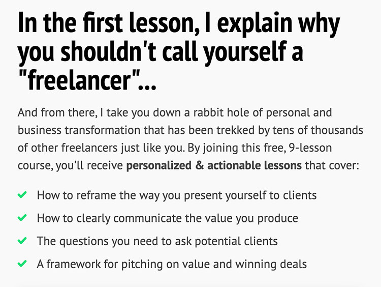 double your freelancing course details