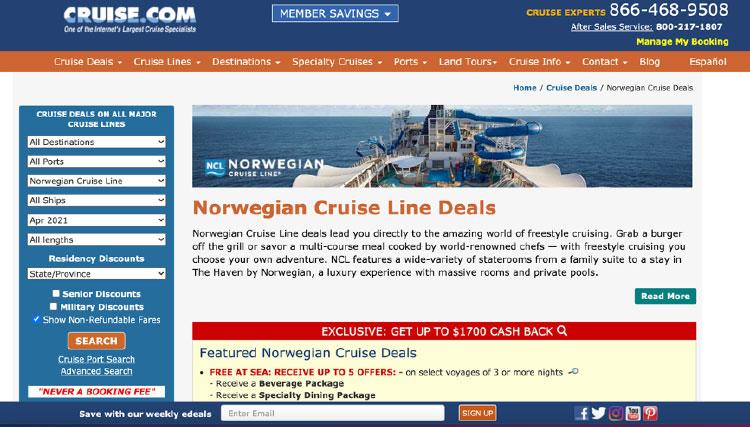 cruise.com homepage