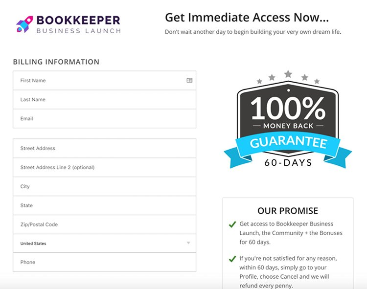 bookkeeper order page