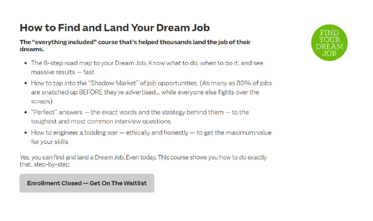 find your dream job enrollment page