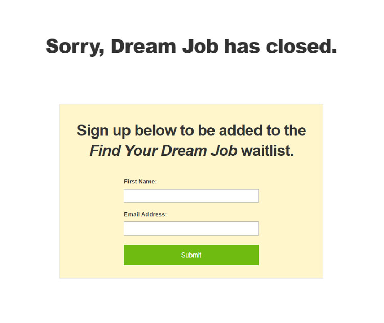 find your dream job waitlist email capture