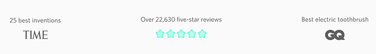 Quip five star reviews with TIME and GB badge